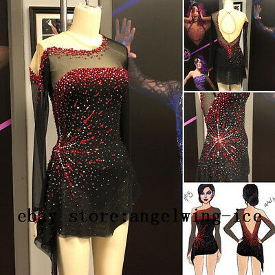 Details about  /Black Red Ice Skating Dresses Custom Girls Skating Dress Competition 2019 YIKE