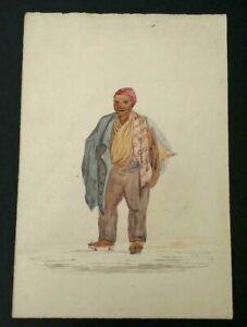VINTAGE-FINE-ART-ARTIST-SIGNED-WATERCOLOR-ON-PAPER-1847-AN-OLD-MAN