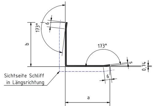 1,5m Eckschutzwinkel Wand Edelstahl 30x30 Länge 1500mm  3-fach gekantet K320.