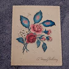Vintage Birthday Card, Volland 10 BF 084, MOM - Pink Flowers, Dated 1949