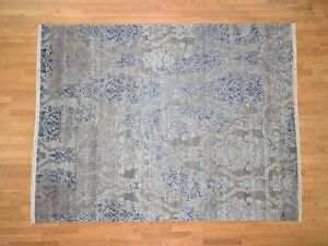 """8'x10'4"""" Silk with Oxidized Wool HandKnotted Transitional Rug G40854"""