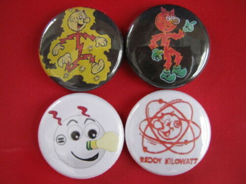 """Electric Utilities Reddy Kilowatt Four New /""""One Inch/"""" PINBACK BUTTONS BADGES***"""