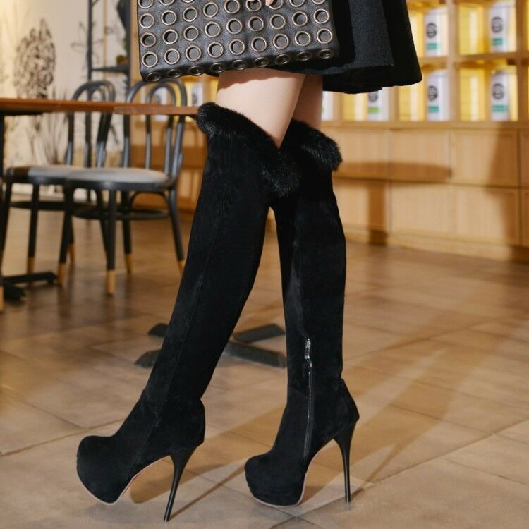 Suede Suede Suede Women Over Knee Boots Motorcycle Platform Stiletto Heels Fur Trim Zip shoes e9838a