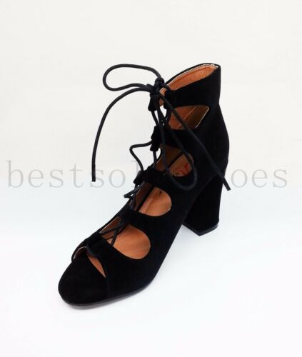 Strap Shoes Suede Heels High Sandals Ankle Black Caged Lace Ladies Size Block donnas Mid Up AEZxUU