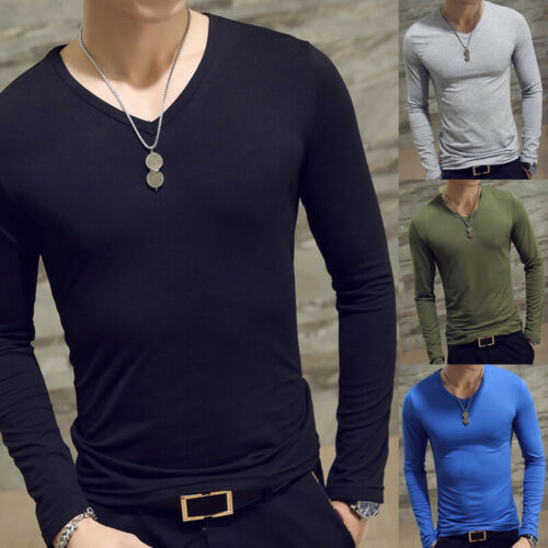 Men Slim-Fit Long-Sleeve Slim T-shirts Casual Basic Tee Shirt Tops Pullover UK