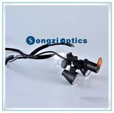 3x Black Sport Frame Binocular Dental Loupes With Filp Up Yellow Filter Light