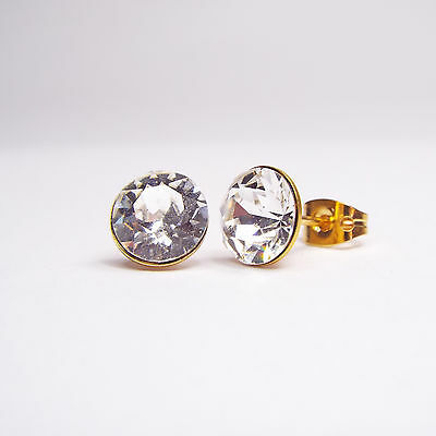 Damen Ohrringe Ohrstecker Vergoldet Swarovski Kristalle 8 mm Klar Weiß Crystal