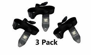Black-Guitar-Strap-Nylon-Acoustic-Electric-3-Pack-Bundle-Ernie-Ball-Polypro