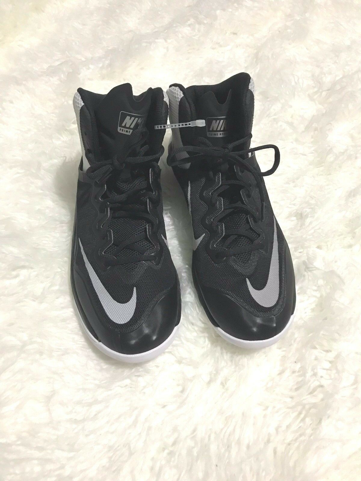 Nike Mens Prime Hype DF Basketball Shoes Black/silver/white Size 11