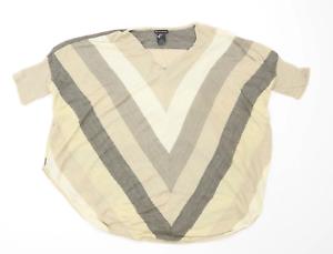 New-Directions-Womens-Size-XL-Striped-Beige-Top-Regular