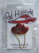 Item 2 Red Hattitude Hat Society Eyeglass Holder Pin Brooch 18 Kt Gold  Finish With Bow  Red Hattitude Hat Society Eyeglass Holder Pin Brooch 18 Kt  Gold ...