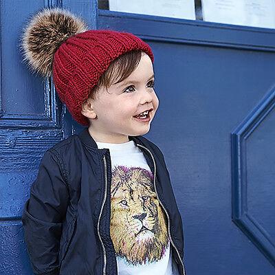 Beechfield B412a Infant Faux Fur Pom Pom Chunky Beanie