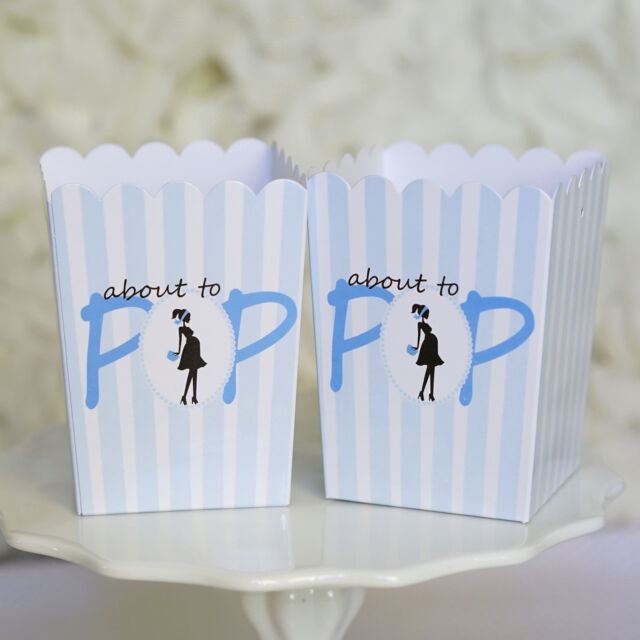 10 Blue ABOUT TO POP Baby Shower Boxes Favor Box Ready to Pop Gender Reveal