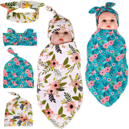 Baby Newborn Girl Blanket Towels Wrap+Hat/Headband Bowknot Hair Accessories Lot