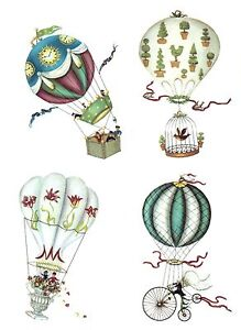 Hot-Air-Balloons-Victorian-Steampunk-Select-A-Size-Waterslide-Ceramic-Decals-Cx