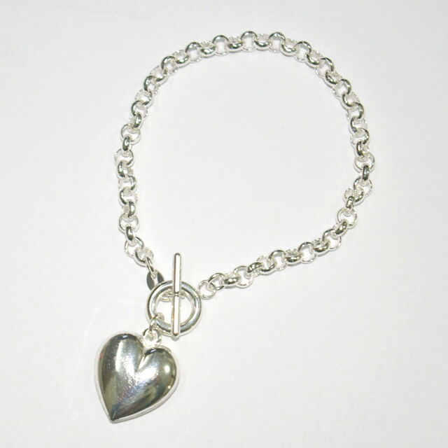 Real 925 Sterling Silver 5mm Rolo Chain Toggle Clasp Bracelet With Heart Charm
