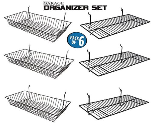 Only Hangers Garage Organizer Value Pack with 3 Shelves and 3 Steel Baskets