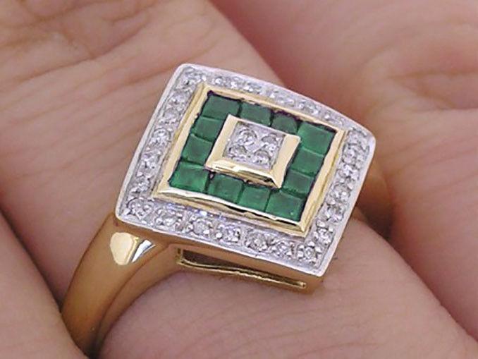 R287 Genuine 9K, 10K, 18K gold Natural Emerald & Diamond Kite Ring in your size