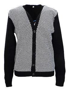 Retro-classique-damier-noir-et-blanc-cardigan