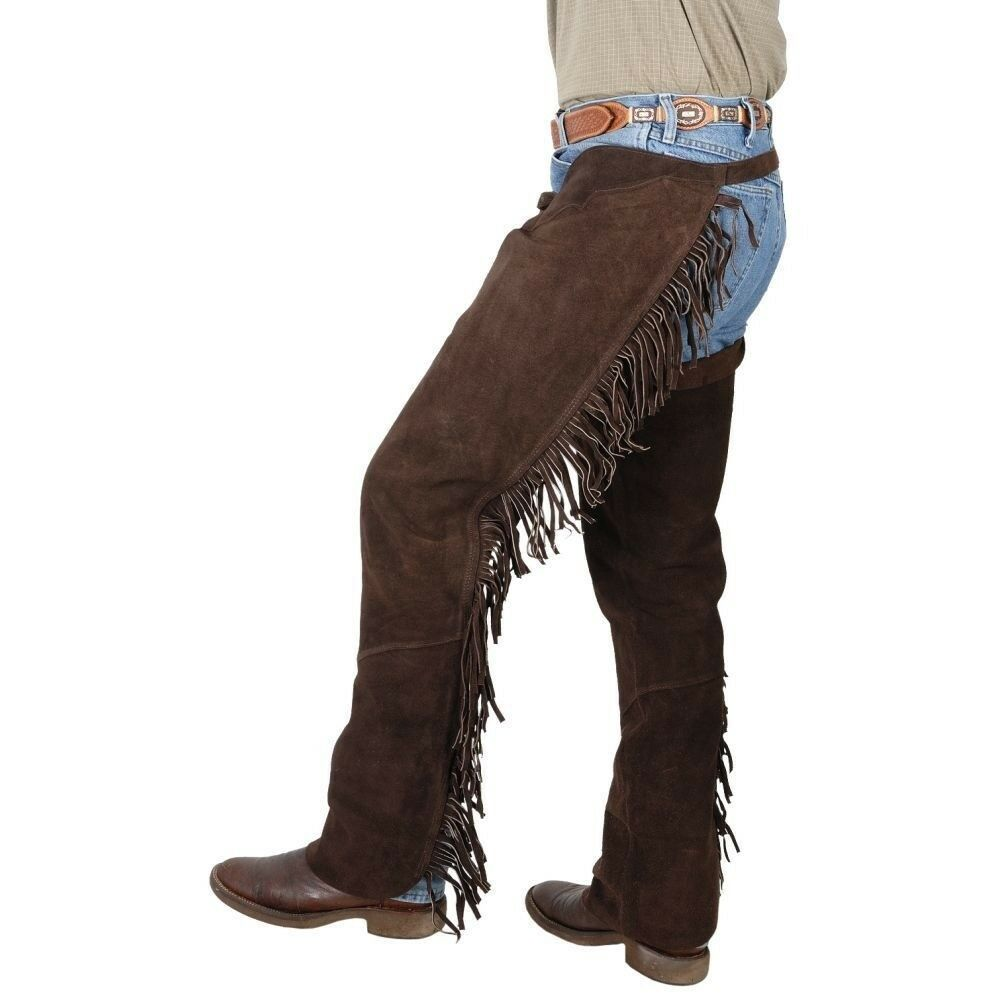 Tough-1 Western Fringed Chaps Suede Leather Full Length Zipper Adjustable Buckle