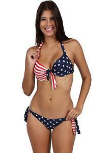 e89a5a5cd7 AMERICAN FLAG USA Bikini Set Underwire Front Halter Side Tie sexy JR ...