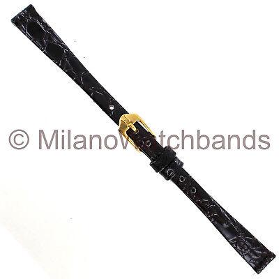 9mm Hirsch Crocograin Black Genuine Leather Unstitched Ladies Watch Band Regular