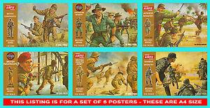 Airfix-1-32-Scatola-Marrone-6-Poster-Set-Giapponese-Australiano-inglesi-tedeschi-A4-Taglia