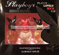 PLAYBOY* 3pc Gift Set 3 x 1 oz Eau de Toilette Spray PLAY IT LOVELY+ROCK+VIP