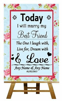 2019 Nieuwste Ontwerp Shabby Chic Floral Today I Will Marry My Best Friend Personalised Wedding Sign Modieuze Patronen