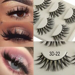 28c72fde643 SKONHED 3 Pairs Faux Mink Hair Long False Eyelashes Wispy Fluffy ...
