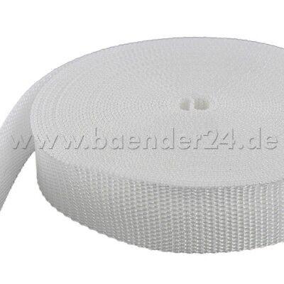 10m PP Gurtband 50mm breit 1,4mm stark UV weiß