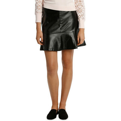 NEW Tokito Patent Peplum Pu Skirt - Black