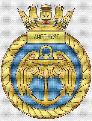 "6x8/"",15x20cm,kit//chart HMS Illustrious Navy Ship Crest Cross Stitch Design"