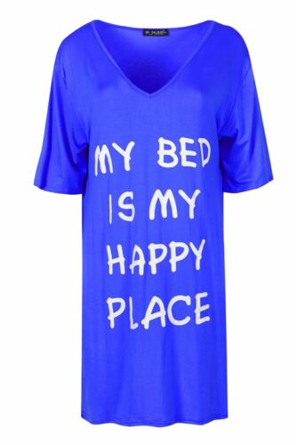 Womens Loose Fitted SORRY MY BED NEEDS ME PJ Dress Ladies Baggy Oversized Shirt