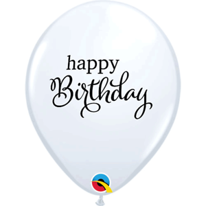 "White Happy Birthday Black Script 11/"" Latex Balloons 6pk Celebration Decoration"