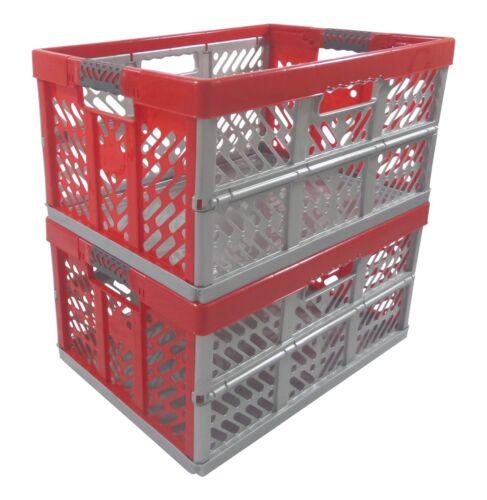 2 x Profi Klappbox 45 L bis 50 kg  silber rot  Faltbox  Box Kiste
