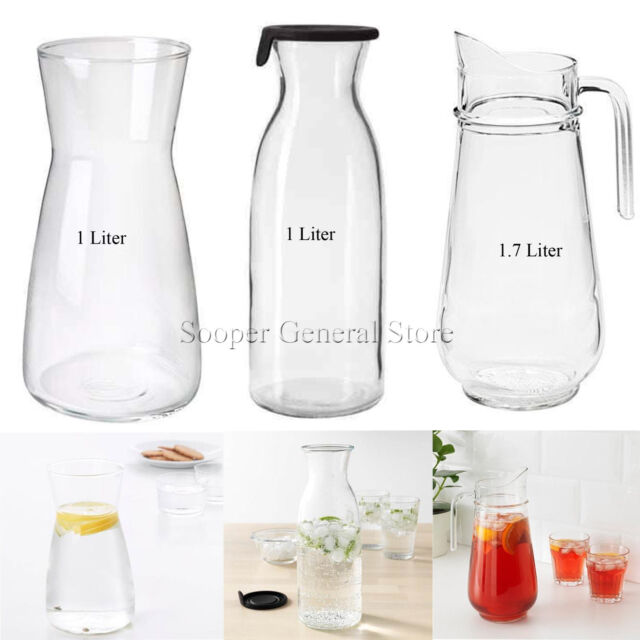 Clear Glass With Cork Plug 1l Bottle, Glass Beverage Dispenser Ikea