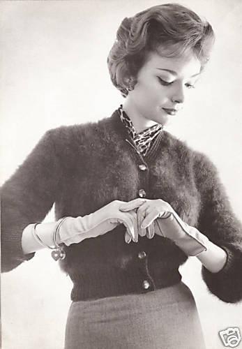 Vintage Knitting PATTERN to make Angora Bolero Shortie Collar Jacket Spencer