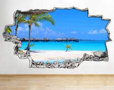 Wall Stickers Summer Beach Ocean Blue Sky Smashed Decal 3D Art Vinyl Room AA172