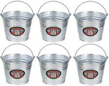 (6) Behrens 1205 5 Quart Galvanized Steel Metal Water Pail Buckets w Handle