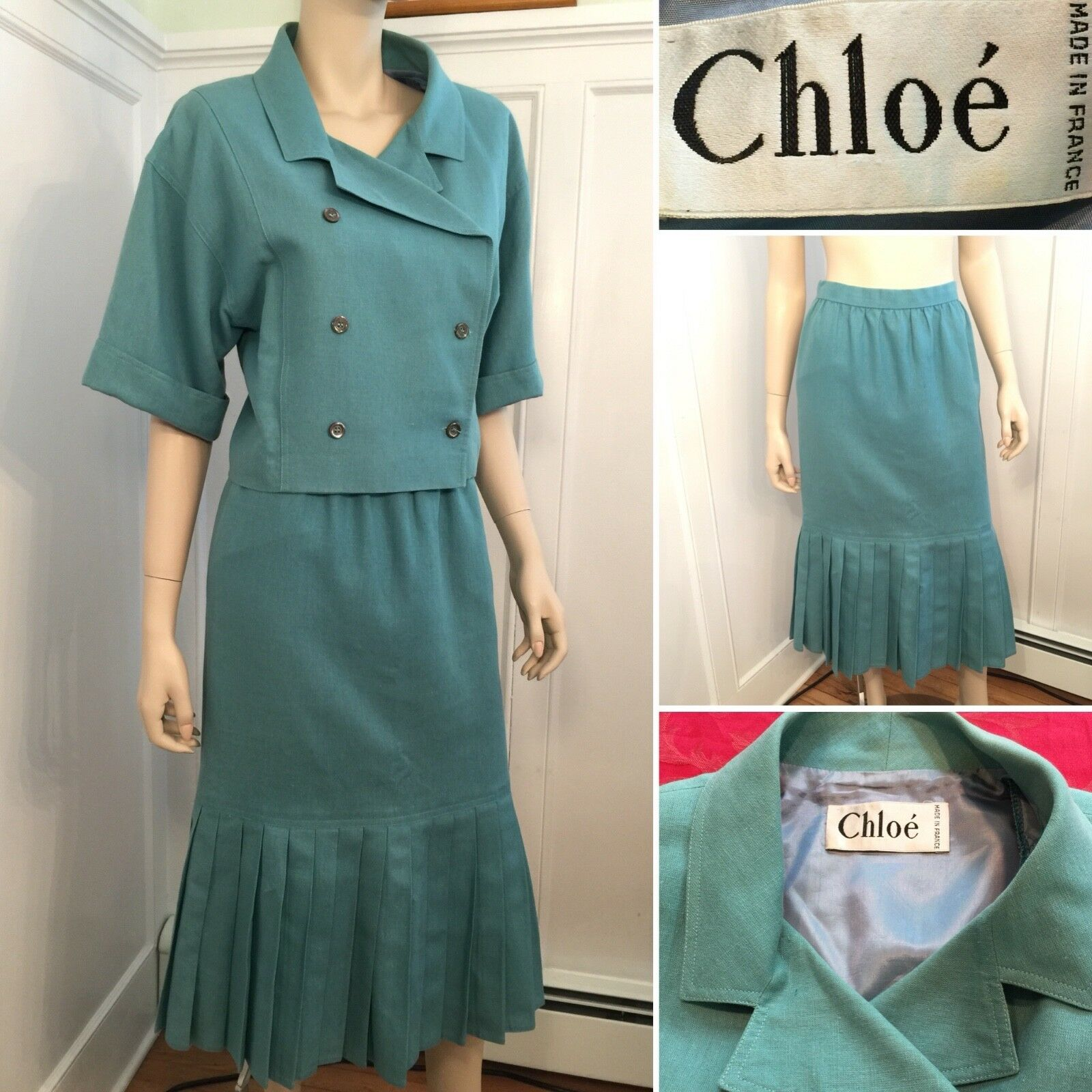 Vintage CHLOE Size 4 Small bluee Green Wool Pleated Skirt Suit Short-Crop Blazer