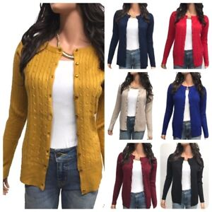 Women-Cardigan-Long-Sleeve-Solid-Open-Front-Twisted-Sweater-cardigan-S-3XL