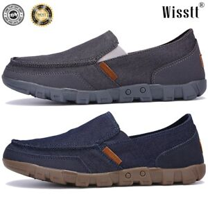 Men-039-s-Minimalism-Driving-Loafers-Canvas-Breathable-Slip-On-Penny-Shoes-Casual-AU