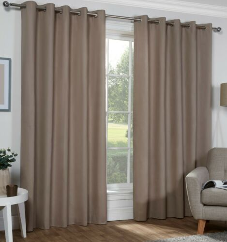3 Sizes. Naples Beige MINK Colour 100/% Cotton Eyelet Ring Top Lined Curtains