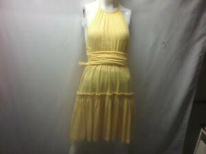Moda-International-Victoria-039-s-Secret-Yellow-Halter-Wrap-Dress-Size-XS