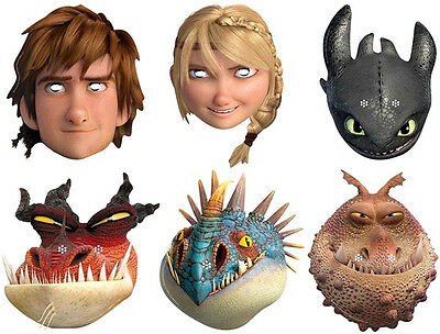 HOW TO TRAIN YOUR DRAGON 2 - OFFICIAL FACE MASKS- 6 TO CHOOSE - FREE SHIPPING!!
