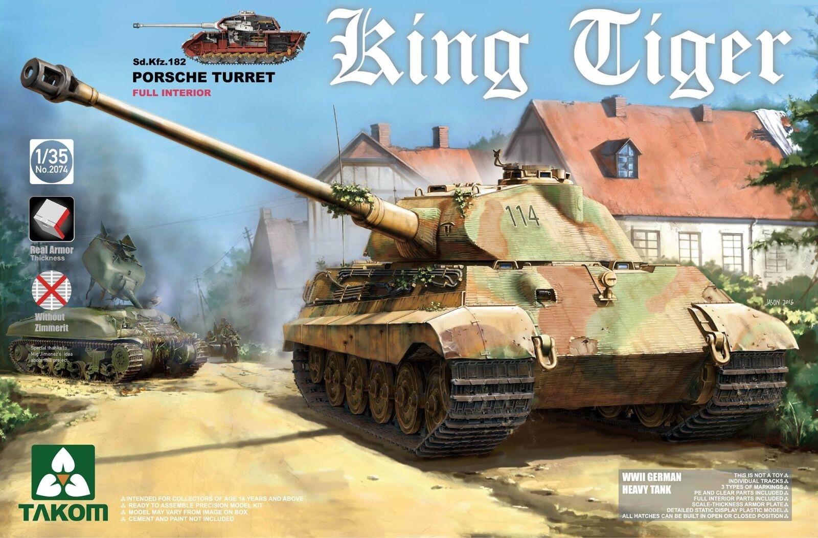 1 35 Takom German Hvy Tank King Tiger Porsche Gun Turret (with Interior)  2074