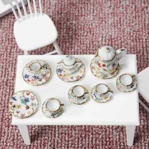 Puppenhaus-Miniatur-Porzellan-Teekanne-Tassen-Geschirr-1-12-Skala-Neu-M0P9