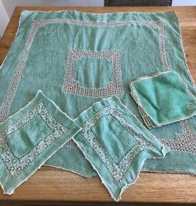 Vintage-Art-Deco-40s-Green-Linen-Small-Square-Tablecloth-X-6-Napkins-VGC