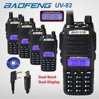 5x Baofeng Uv-82 Black Uhf Vhf Ham Dual Band 137-174/400-520mhz Radio +usb Cable